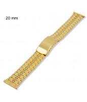 Zlátený, oceľový remienok šírka 20 mm - na hodinky - 10RE694-20