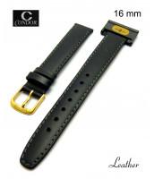 Čierny, kožený remienok šírka 16 mm - pravá koža - 10RE115S