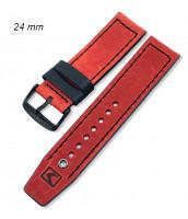 Čevený, kožený remienok šírka 24 mm - 10RE900-01