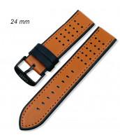 Hnedo-čierny kožený remienok šírka 24 mm - pravá koža - 10RE901-01-02
