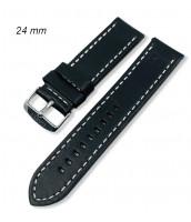 Čierny kožený remienok šírka 24 mm - biela niť - 10RE902-02