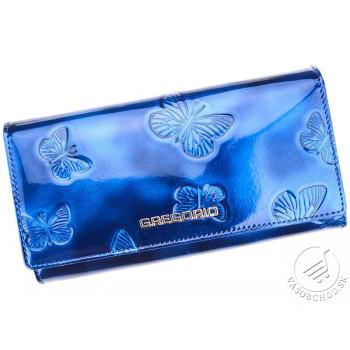 Kožená modrá dámska peňaženka Gregorio s motýľmi v darčekovej krabičke - BT106
