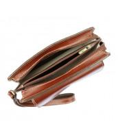 Hnedá kožená pánska dokladová taška / etue Gregorio - 2123