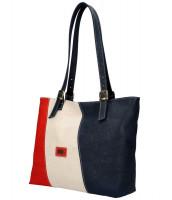 Korková dámska kabelka cez plece červeno-béžovo-modrá - ZI22V