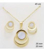 Súprava šperkov z ocele s perleťou zlátená 237118