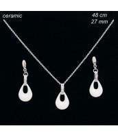 Oceľová súprava šperkov s keramikou - 237106B