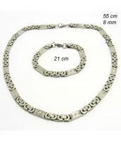 Oceľová súprava šperkov - náhrdelník+náramok 237546