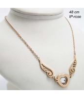 Oceľový náhrdelník srdce s krídlami 237514