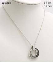 Oceľový náhrdelník s keramikou a zirkónmi - 237361C